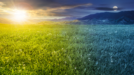 rural landscape. fresh grass on the flat meadow near the high mountains day and night collage