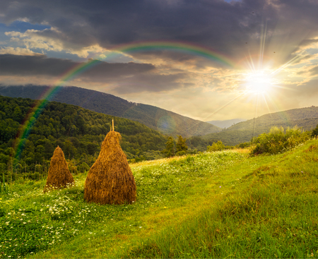 haystack  on a green agricultural meadow under the rainbow in the mountains in evening light