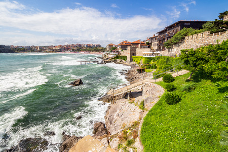 ancient european city Sozopol on a rocky shore near sea in summer. piere and steps to sea shore Stock Photo - 49210244