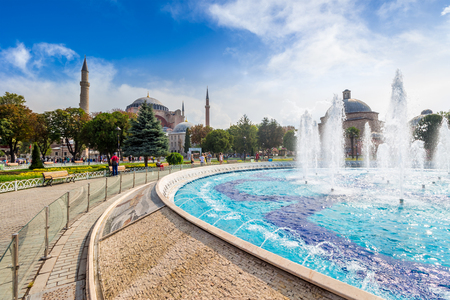 Fountain in park near Sophia basilica museum in Istanbul, Turkey on a bright sunny day