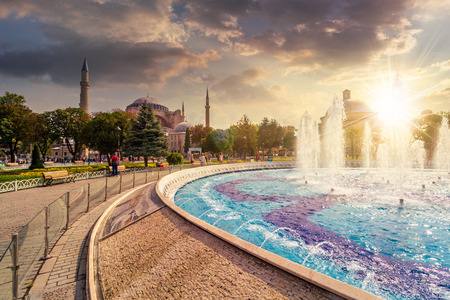 Fountain in park near Sophia basilica museum in Istanbul, Turkey in evening light Editorial