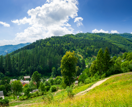 rural summer landscape. small village among the forest on hillside in high mountains Stock Photo