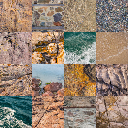 collage of stone and water textures from sea travel Stock Photo