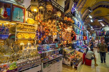 ISTANBUL - AUGUST 18: Grand Bazaar interior on August 18, 2015 in Istanbul. Streets of The Grand Bazaar in Istanbul, one of the largest and oldest covered markets in the world.