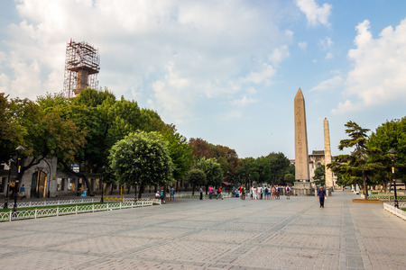 obelisk stone: Sultanahmet Square is historic district of Istanbul near the Blue Mosque, it is a popular area among tourists Editorial