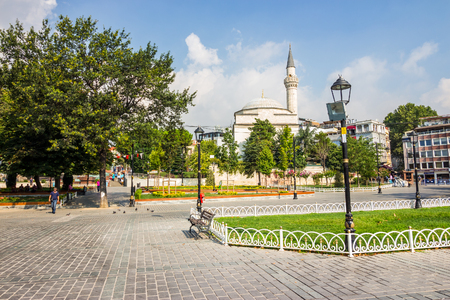 Sultanahmet Square is historic district of Istanbul near the Blue Mosque, it is a popular area among tourists Stock Photo