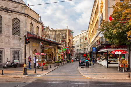 ISTANBUL - AUGUST 18: Divan Yolu street on August 18, 2015 in Istanbul. Divan Yolu is historic district of Istanbul, street that leeds Sultan Ahmet Par and is a popular area among tourists