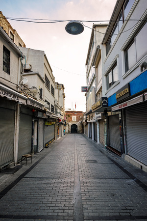 kapalicarsi: ISTANBUL - AUGUST 18: Street to Grand Bazaar August 18, 2015 in Istanbul. One of Street that leeds to Drand Bazar at sunrise before entrance Editorial