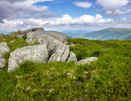 mountain summer landscape. meadow with huge stones among the grass on top of the hillside near the peak of mountain range in morning light Stock Photo