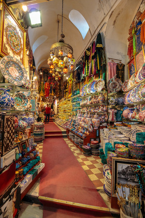 ISTANBUL - AUGUST 18: Grand Bazaar interior on August 18, 2015 in Istanbul. Streets of The Grand Bazaar in Istanbul, one of the largest and oldest covered markets in the world. Stock Photo - 53088206