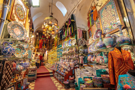 ISTANBUL - AUGUST 18: Grand Bazaar interior on August 18, 2015 in Istanbul. Streets of The Grand Bazaar in Istanbul, one of the largest and oldest covered markets in the world. Stock Photo - 53088216