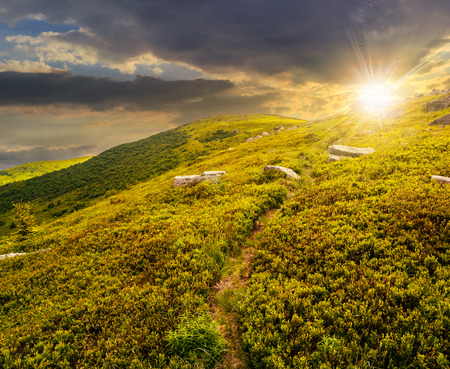 path through hillside with huge white sharp boulders near mountain peak in evening light Stock Photo