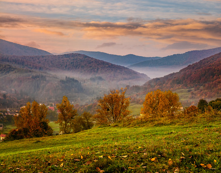 autumn landscape. village on the hillside. forest in fog on mountains at sunrise Stock Photo