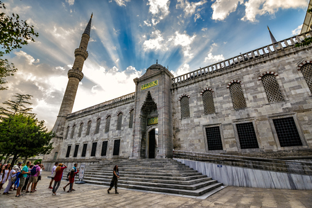 ISTANBUL - AUGUST 18: Blue Mosque on August 18, 2015 in Istanbul.  European tourists go to Blue Mosque in Istanbul at sunrise
