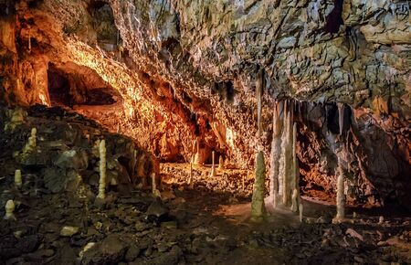 APUSENI - OCTOBER 04: Hall of Ursus cave on October 05, 2015 in Apuseni, Romania. Hall of Ursus spelaeus cave in noth-west romanian mountains bihor district transilvania