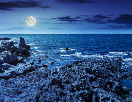 calm sea landscape with some wave near rocky coast with boulders and seaweed  in at night in full moon light