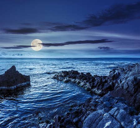 boulders, stones and seaweed on the rocky coast of the sea at night in full moon light Stock Photo