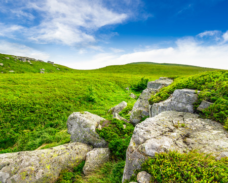 hill range: mountain summer landscape. valley with stones in grass on top of the hill side of mountain range Stock Photo