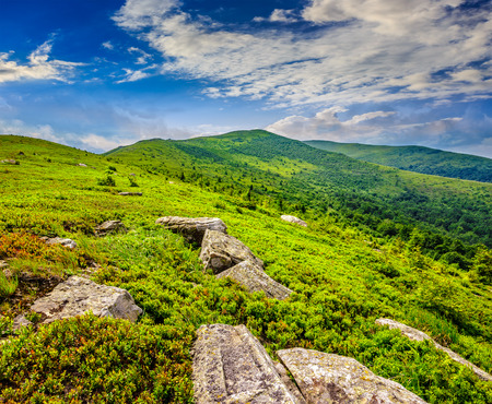white sharp stones and boulders among green grassy meadow on the hillside on top of  mountain range