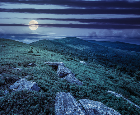 white sharp stones and boulders among green grassy meadow on the hillside on top of  mountain range at night in full moon light
