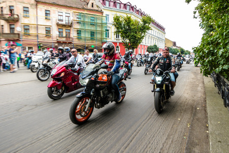 UZHGOROD - JULY 9: Music Bike festival on July 9, 2016 in Uzhgorod Ukraine. Opening of Music Bike Ukraine festival on Petefi Square