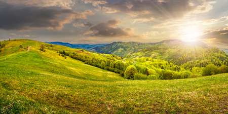 Idyllic view of pretty farmland rolling hills. Rural landscape near the forest in mountains in evening light Stock Photo
