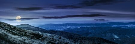 hillside: panoramic summer landscape with hillside meadow in Carpathian mountains at night in full moon light Stock Photo