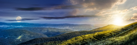 day and night composite image of panoramic summer landscape with hillside meadow in Carpathian mountains