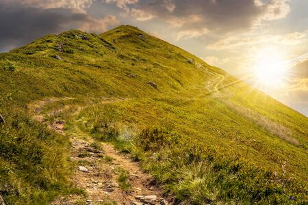 summer mountain landscape. foot path through hill side to the mountain top in evening light Stock Photo