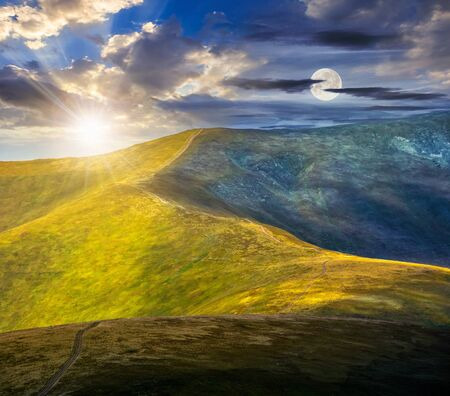 hillside: day and night composite image of winding road through large meadows on the hillside of Polonina mountain range