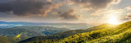 hillside: panoramic summer landscape with hillside meadow in Carpathian mountains in evening light Stock Photo