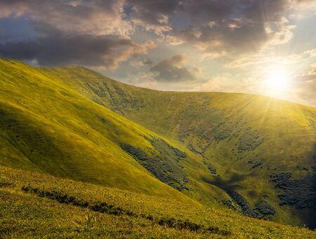 hillside: green grass on hillside meadow in high mountains under the cloudy sky in evening light