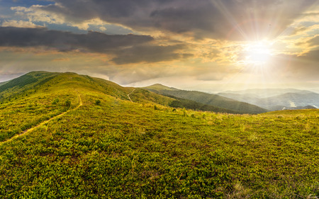 summer mountain landscape under the blue sky with clouds in evening light