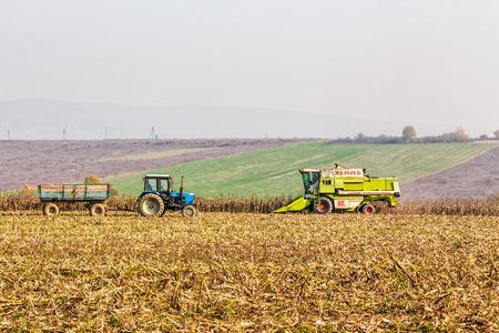 corn stalks: Mukachevo, Ukraine - November 6 2015: tractor and harvester in the field among the corn stalks in late fall  haze day