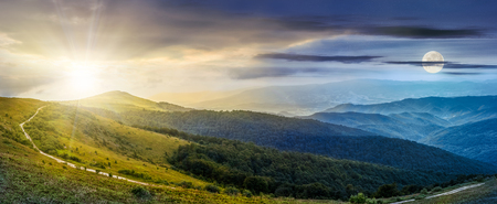 twenty four hour concept of panoramic summer landscape with road through hillside meadow in mountains