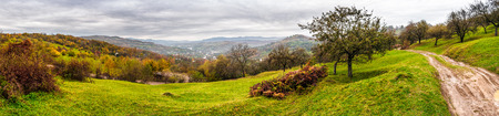 panorama of apple orchard and a wild rose bush on top of the mountain in late autumn cloudy day