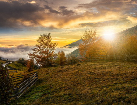 cold morning fog with golden hot sunset in the mountainous rural area. trees with red foliage near the fence on the hillside meadow. road in the distance goes to fog under blue sky with some clouds Stock Photo