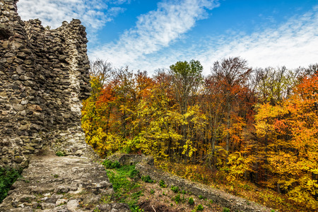Stone wall of an old ruined castle in the autumn forest with foliage