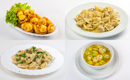 set of image with meat dumplings, russian pelmeni on the white plate  in different conditions: fried, with butter, with vinegar and in soup