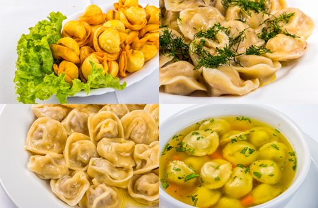 set of image with meat dumplings, russian pelmeni closeup in different conditions: fried, with butter, with vinegar and in soup