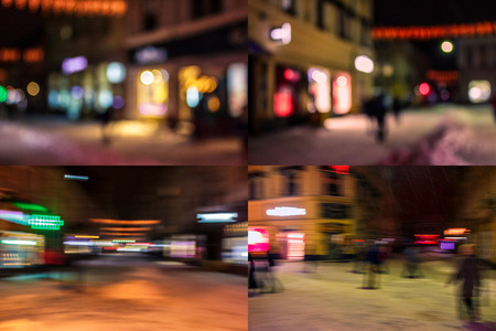 A crowd of people moving on the old european city Christmas night street defocused blurred abstract image Stock Photo