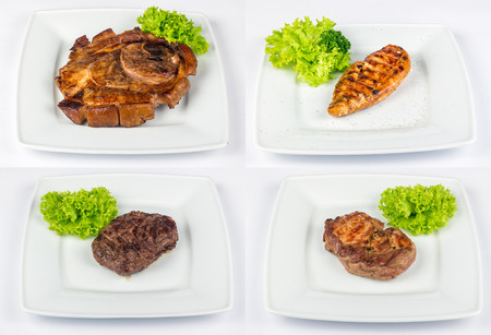 set of images with steak on white plate made of  different type of meat: lamb, chicken, pork and beef
