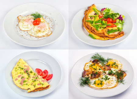 image set illustrating frur types of fried egg and omelette for breakfast Stock Photo