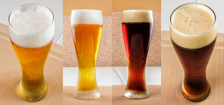 set glass with lager beer and dark beer. staright and top vew Stock Photo