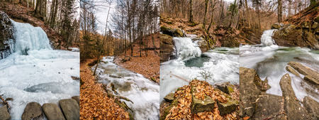 set of images with frozen waterfall on the river among the forest  in mountains Stock Photo