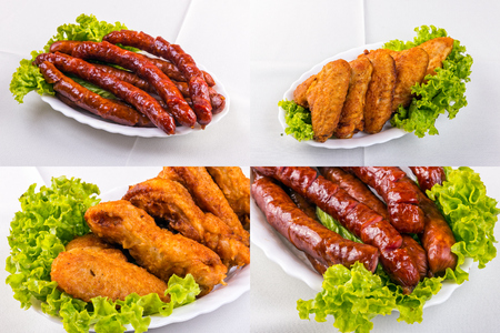fried sausage and chicken wings on a white plate with closeups