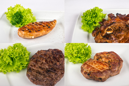 set of closeup images with steak made of different type of meat: lamb, chicken, pork and beef