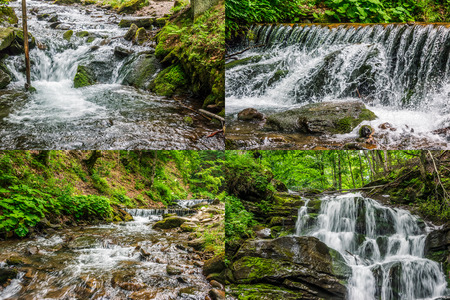Summer landscape set of images. Small cascades on the forest river with stones and boulders