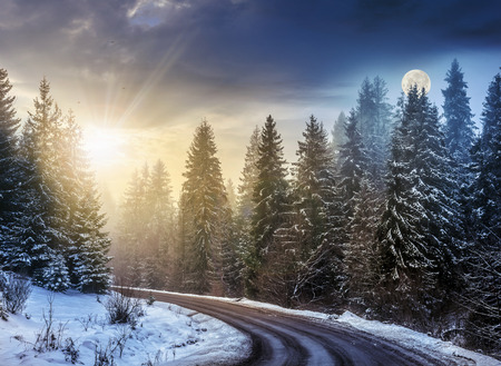 day and night concept of winter forest landscape.  winding road that leads into the spruce forest covered with snow Stock Photo