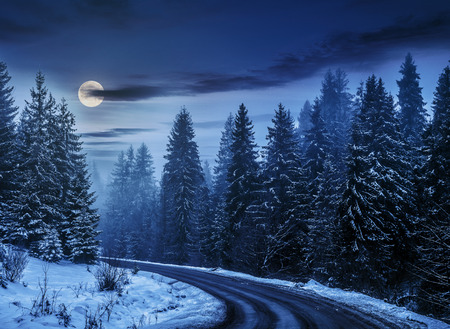 winter mountain landscape. winding road that leads into the spruce forest covered with snow at night in full moon light Stock Photo
